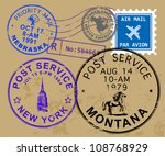 set of usa post stamp symbols ... | Shutterstock .eps vector #108768929