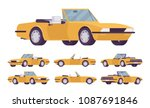 yellow cabriolet car set.... | Shutterstock .eps vector #1087691846