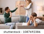 little unhappy boy sitting in...   Shutterstock . vector #1087692386