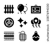 Filled set of 9 decoration icons such as balloons, kamon, shines, lantern, garden fence, greek ornament, bauble