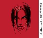 beautiful girl portrait. vector.... | Shutterstock .eps vector #1087696913