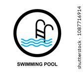 swimming pool sign vector | Shutterstock .eps vector #1087716914