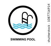 swimming pool sign vector   Shutterstock .eps vector #1087716914
