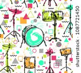 seamless pattern with  drum kit ...   Shutterstock .eps vector #1087721450