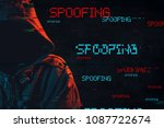 spoofing concept with faceless... | Shutterstock . vector #1087722674