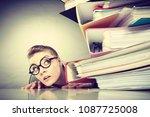 a lot of work and overwork... | Shutterstock . vector #1087725008