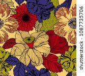 trendy floral pattern in the... | Shutterstock .eps vector #1087735706