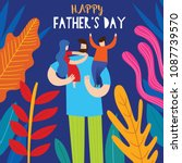 happy father's day greeting... | Shutterstock .eps vector #1087739570