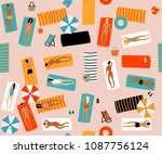 summer beach seamless vector... | Shutterstock .eps vector #1087756124