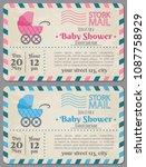 baby shower invitation arrival... | Shutterstock .eps vector #1087758929