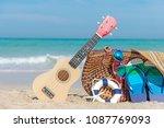 summer travel. bikini and flip...   Shutterstock . vector #1087769093