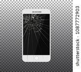 black broken mobile phone... | Shutterstock .eps vector #1087772903