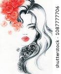 beautiful woman. fashion... | Shutterstock . vector #1087777706