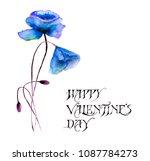 stylized flowers watercolor...   Shutterstock . vector #1087784273