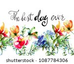 decorative summer flowers with... | Shutterstock . vector #1087784306