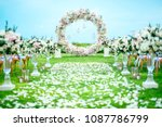 romantic wedding ceremony on... | Shutterstock . vector #1087786799