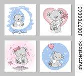 cute teddy bears vector... | Shutterstock .eps vector #1087788863