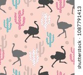 seamless pattern with ostrich... | Shutterstock .eps vector #1087791413