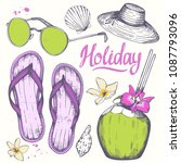 holiday hand drawn set with... | Shutterstock .eps vector #1087793096