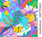 floral seamless pattern.... | Shutterstock .eps vector #1087793624