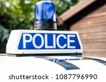 police vehicle sign with blue... | Shutterstock . vector #1087796990