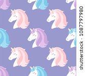 cute unicorns. seamless vector...   Shutterstock .eps vector #1087797980