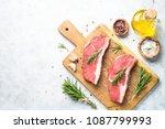 raw beef striploin steak on... | Shutterstock . vector #1087799993