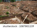 trench with pubble and formwork ... | Shutterstock . vector #1087801139