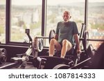 senior man working exercise on... | Shutterstock . vector #1087814333