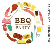 barbeque party vector poster. | Shutterstock .eps vector #1087816418