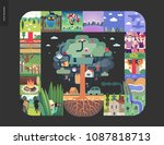simple things   forest set on a ... | Shutterstock .eps vector #1087818713
