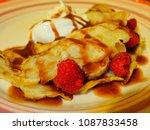Small photo of Raspberry and ice cram pancake