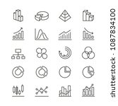 graph related icons  thin... | Shutterstock .eps vector #1087834100