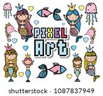 pixel art aquatic world cartoons | Shutterstock .eps vector #1087837949