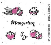set of mangosteen in hand drawn ... | Shutterstock .eps vector #1087838609