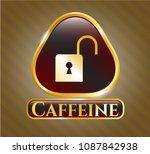 golden badge with open lock...   Shutterstock .eps vector #1087842938