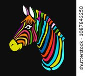 zebra  sketch for your design | Shutterstock .eps vector #1087843250