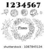 vintage wedding set of flowers... | Shutterstock .eps vector #1087845134