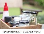 set of flavoring in the wooden...   Shutterstock . vector #1087857440