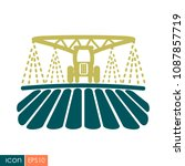 tractor watering  soil and... | Shutterstock .eps vector #1087857719