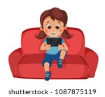 little girl uses a smartphone... | Shutterstock .eps vector #1087875119
