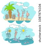 people relax at the sea and... | Shutterstock .eps vector #1087876106