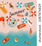 summer beach vector illustration   Shutterstock .eps vector #1087876829