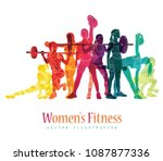 girl sport. girl fitness  gym ... | Shutterstock .eps vector #1087877336