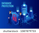 isometric database protection... | Shutterstock .eps vector #1087879733
