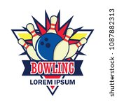 bowling logo with text space... | Shutterstock .eps vector #1087882313