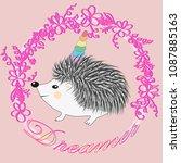 a cute cartoon hedgehog with a... | Shutterstock .eps vector #1087885163