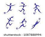 set of football player in... | Shutterstock .eps vector #1087888994