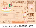 one page placemat of ice cream... | Shutterstock .eps vector #1087891478