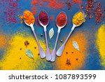 a variety of bright spices with ... | Shutterstock . vector #1087893599